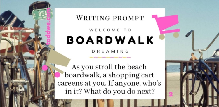 Writing Prompt 2. Welcome to Boardwalk Dreaming. As you stroll the beach boardwalk, a shopping cart careens at you. If anyone, who's in it? What do you do next?