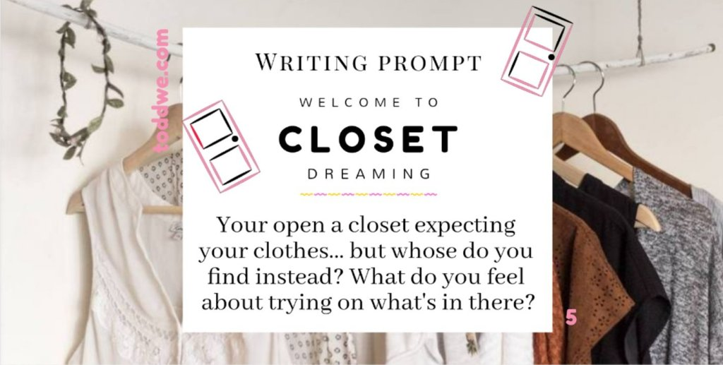 toddwe.com writing prompt #5. Welcome to closet dreaming. You open a closet expecting your clothes, but whose do you find instead? What do you feel about trying on what's in there?